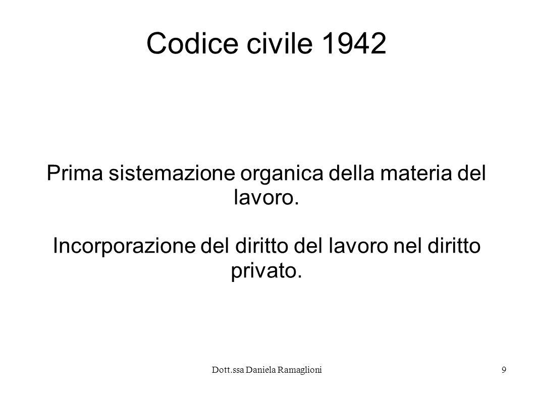 Dott.ssa Daniela Ramaglioni10 La materia lavoristica non viene più considerata oggetto di disciplina speciale ma inserita nella codificazione unificata del diritto privato.