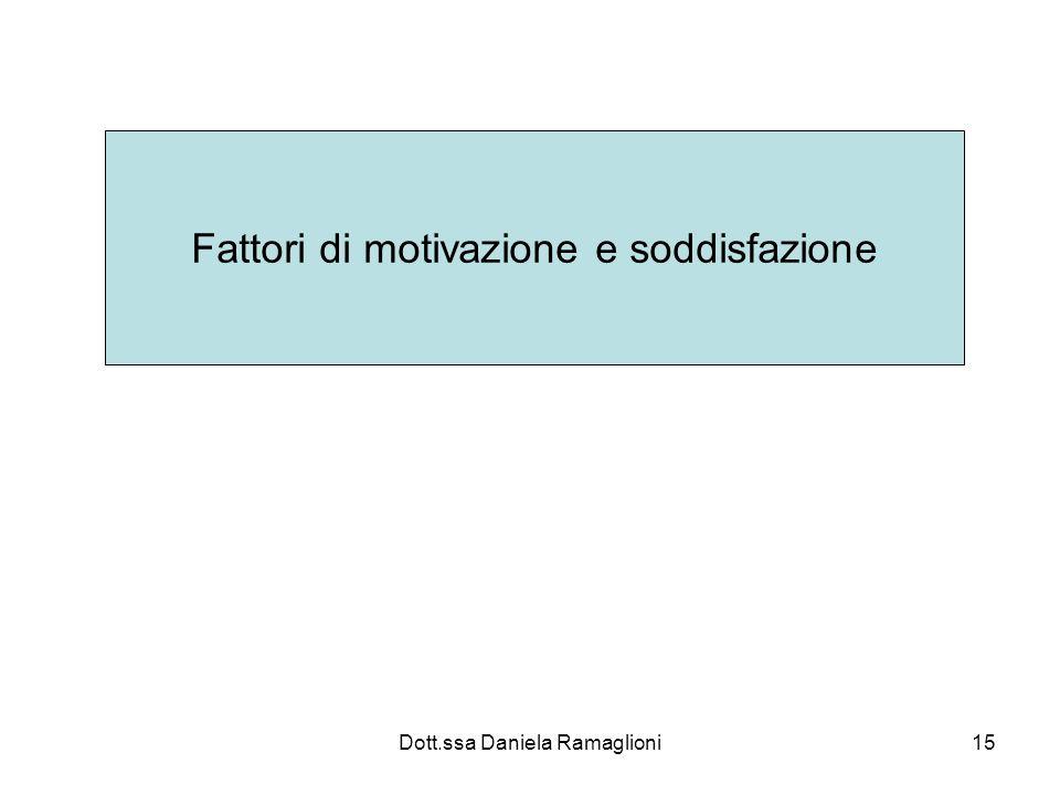 Dott.ssa Daniela Ramaglioni15 Fattori di motivazione e soddisfazione