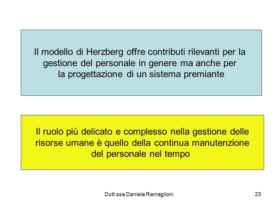 Dott.ssa Daniela Ramaglioni23 Il modello di Herzberg offre contributi rilevanti per la gestione del personale in genere ma anche per la progettazione
