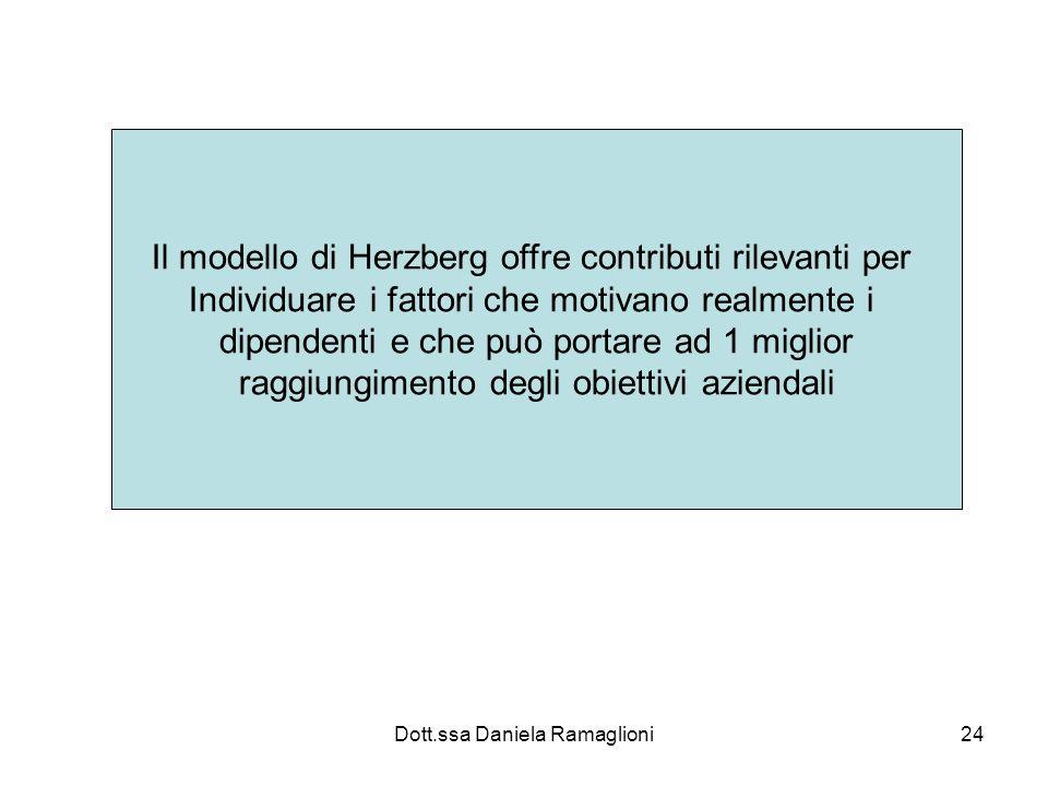 Dott.ssa Daniela Ramaglioni24 Il modello di Herzberg offre contributi rilevanti per Individuare i fattori che motivano realmente i dipendenti e che pu