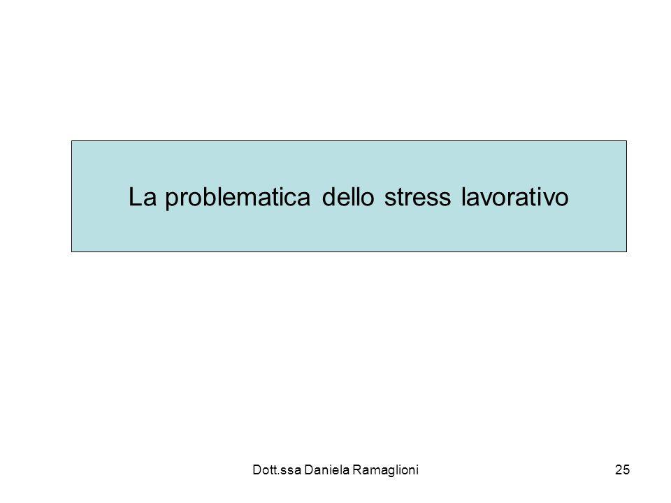 Dott.ssa Daniela Ramaglioni25 La problematica dello stress lavorativo