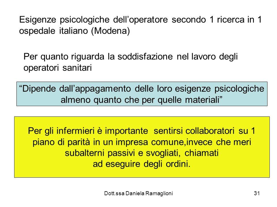 Dott.ssa Daniela Ramaglioni31 Esigenze psicologiche delloperatore secondo 1 ricerca in 1 ospedale italiano (Modena) Per quanto riguarda la soddisfazio