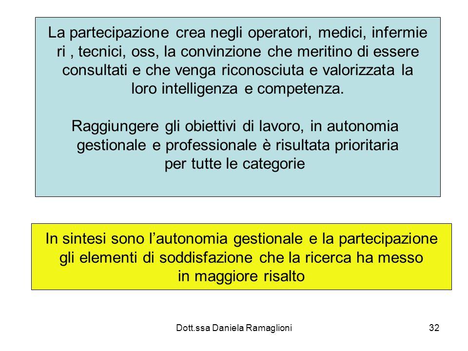 Dott.ssa Daniela Ramaglioni32 La partecipazione crea negli operatori, medici, infermie ri, tecnici, oss, la convinzione che meritino di essere consult