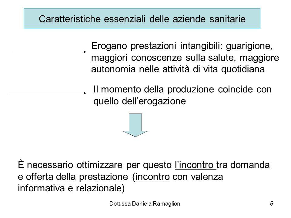 Dott.ssa Daniela Ramaglioni5 Caratteristiche essenziali delle aziende sanitarie Erogano prestazioni intangibili: guarigione, maggiori conoscenze sulla