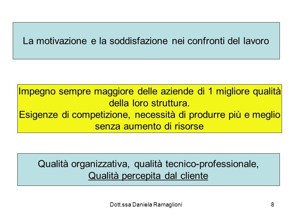 Dott.ssa Daniela Ramaglioni8 La motivazione e la soddisfazione nei confronti del lavoro Impegno sempre maggiore delle aziende di 1 migliore qualità de