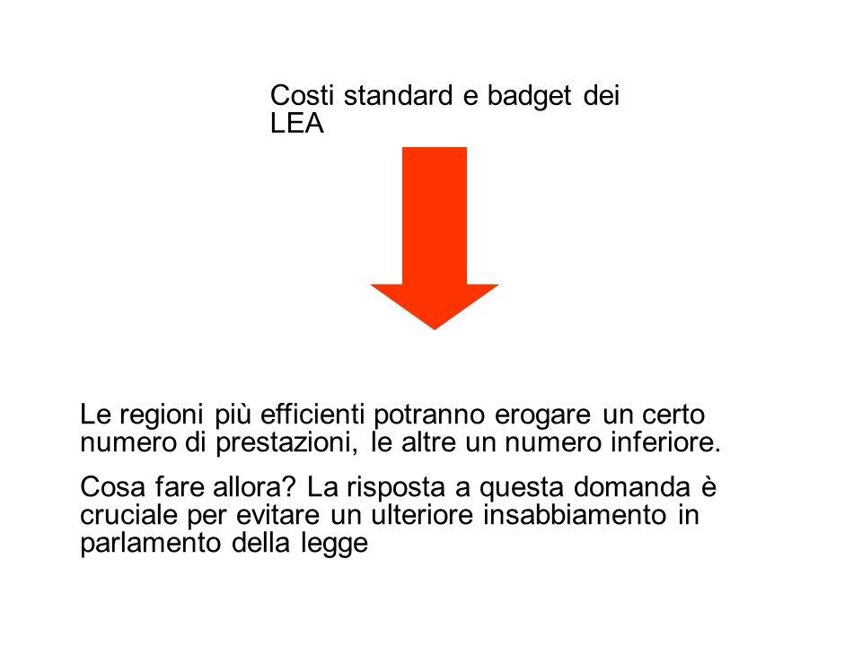 Costi standard e badget dei LEA Le regioni più efficienti potranno erogare un certo numero di prestazioni, le altre un numero inferiore.