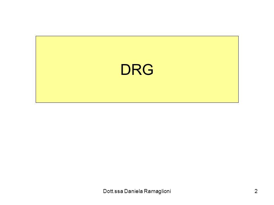 Dott.ssa Daniela Ramaglioni33 Casi outlier (oltre la soglia) Il rimborso effettivo può essere maggiore della tariffa Esempio: DRG x 20 gg valore soglia; rimborso aggiuntivo 160 al giorno; se ricovero è durato 23 gg Rimborso : TARIFFA + 3 ggx 160= 480 Tariffa 3086,25 + 480= 3566,25