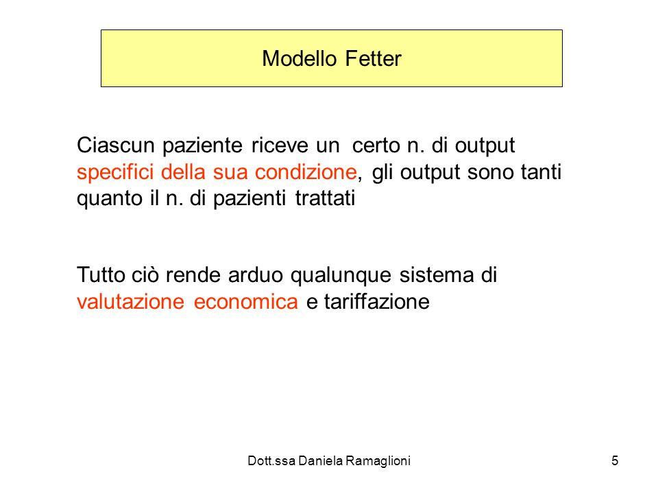 Dott.ssa Daniela Ramaglioni5 Modello Fetter Ciascun paziente riceve un certo n. di output specifici della sua condizione, gli output sono tanti quanto