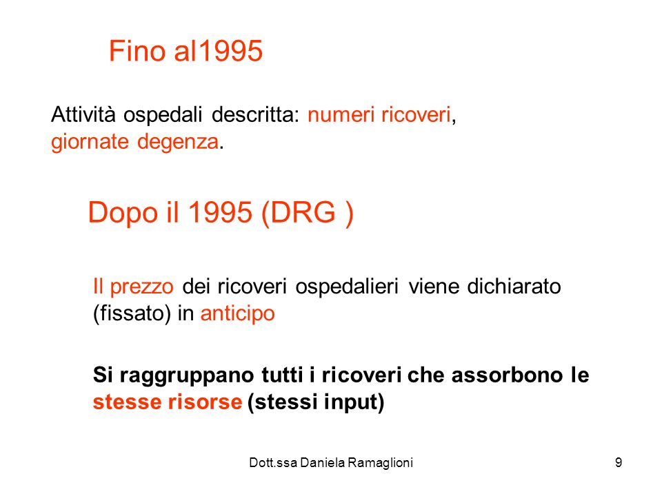 Dott.ssa Daniela Ramaglioni9 Fino al1995 Attività ospedali descritta: numeri ricoveri, giornate degenza. Dopo il 1995 (DRG ) Il prezzo dei ricoveri os