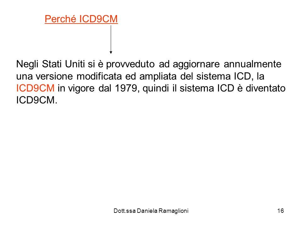Dott.ssa Daniela Ramaglioni16 Perché ICD9CM Negli Stati Uniti si è provveduto ad aggiornare annualmente una versione modificata ed ampliata del sistem