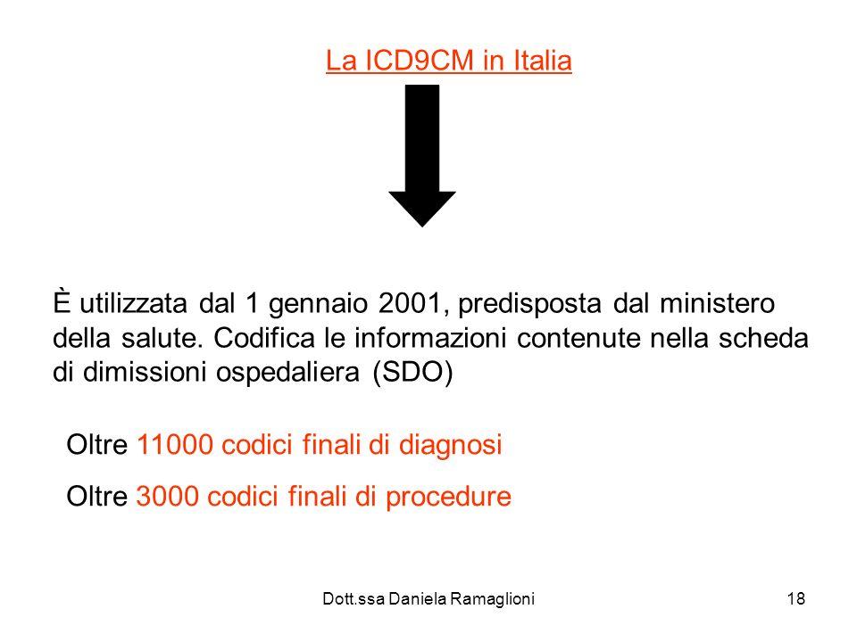 Dott.ssa Daniela Ramaglioni18 La ICD9CM in Italia È utilizzata dal 1 gennaio 2001, predisposta dal ministero della salute. Codifica le informazioni co
