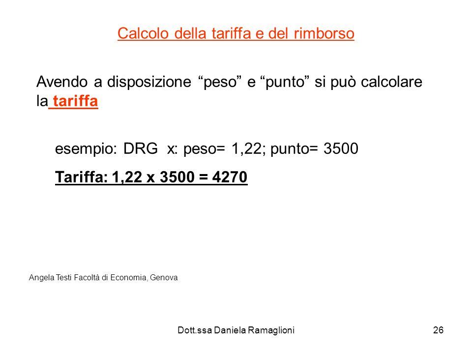 Dott.ssa Daniela Ramaglioni26 Calcolo della tariffa e del rimborso Avendo a disposizione peso e punto si può calcolare la tariffa esempio: DRG x: peso