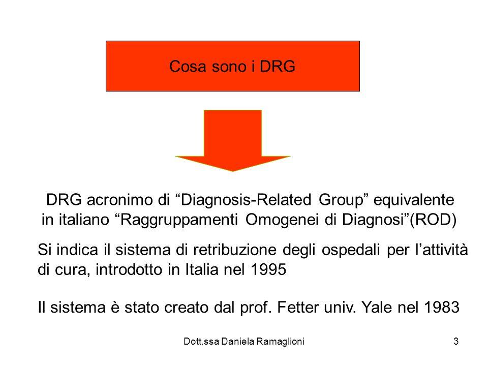 Dott.ssa Daniela Ramaglioni24 Assegnazione del peso Assegnazione al raggruppamento automatica tramite 1 software che combina le informazioni dello SDO Ogni raggruppamento (DRG) ha un peso (valutazione ) Consumo relativo di risorse, Complessità (media/alta/ bassa)