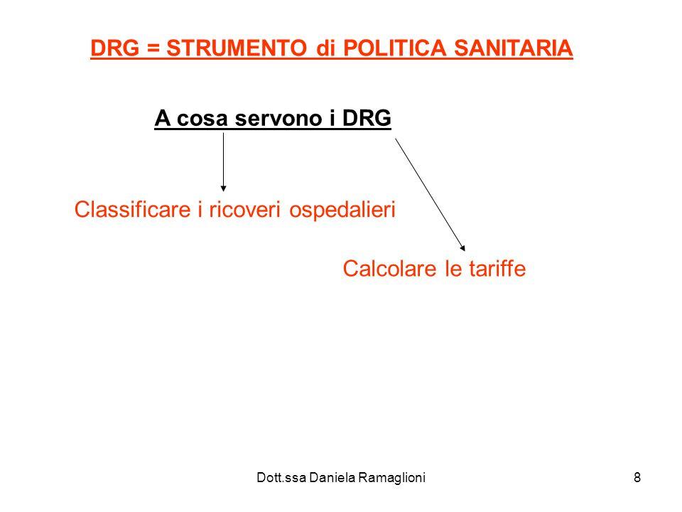 Dott.ssa Daniela Ramaglioni8 DRG = STRUMENTO di POLITICA SANITARIA A cosa servono i DRG Classificare i ricoveri ospedalieri Calcolare le tariffe