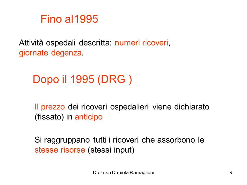 Dott.ssa Daniela Ramaglioni20 Come funziona il Grouper Il software individua la diagnosi principale dalla scheda nosologica e la assegna al grouper (raggruppamento) in maniera automatica.