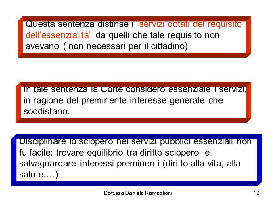 Dott.ssa Daniela Ramaglioni12 Questa sentenza distinse i servizi dotati del requisito dellessenzialità da quelli che tale requisito non avevano ( non