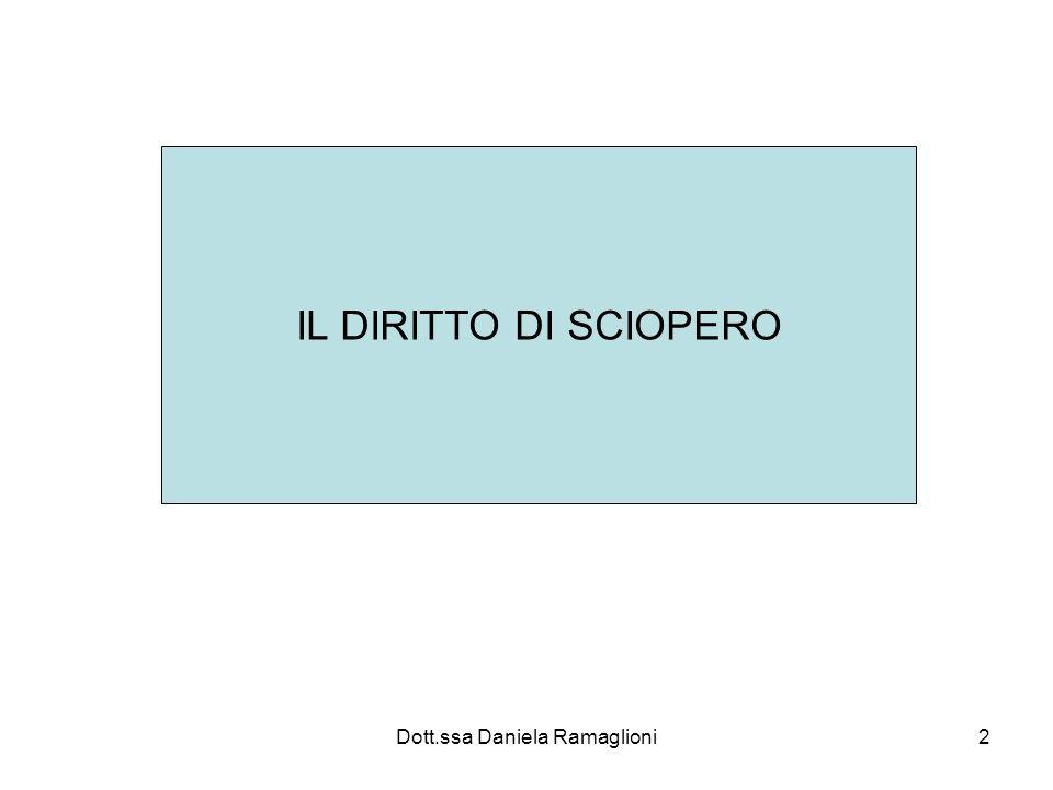 Dott.ssa Daniela Ramaglioni13 Diritto di sciopero: evoluzione normativa Art 40 Costituzione Varie sentenze della Corte Legge 146/1990 ( prima vera legge che dà concreta attuazione al precetto costituzionale)