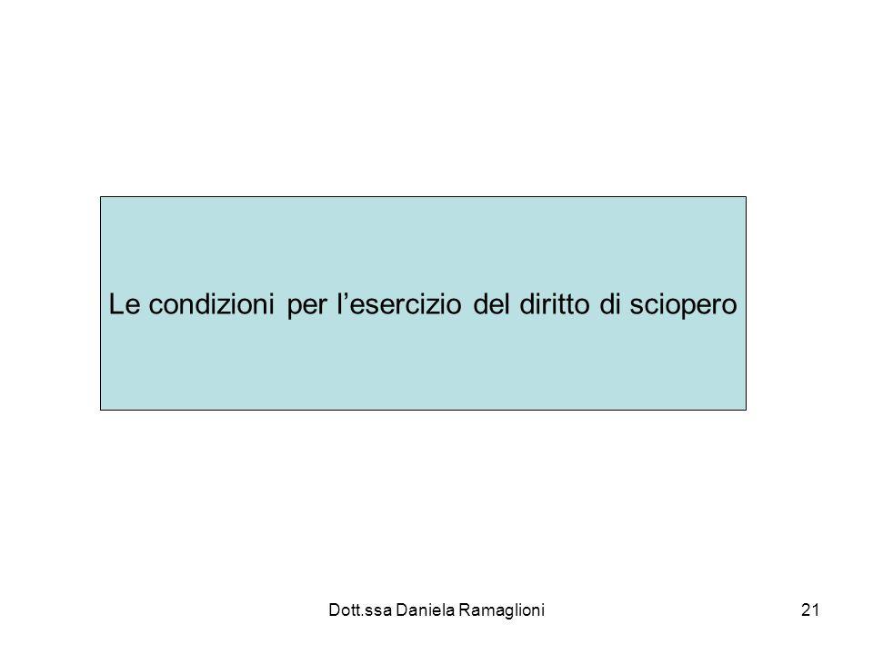 Dott.ssa Daniela Ramaglioni21 Le condizioni per lesercizio del diritto di sciopero