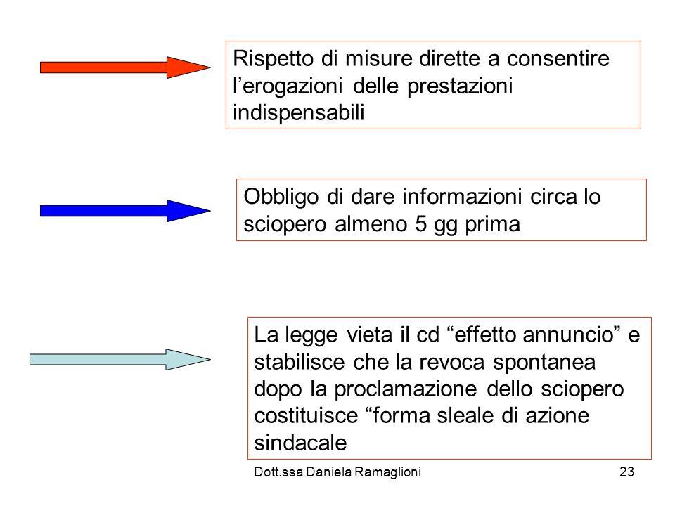 Dott.ssa Daniela Ramaglioni23 Rispetto di misure dirette a consentire lerogazioni delle prestazioni indispensabili Obbligo di dare informazioni circa