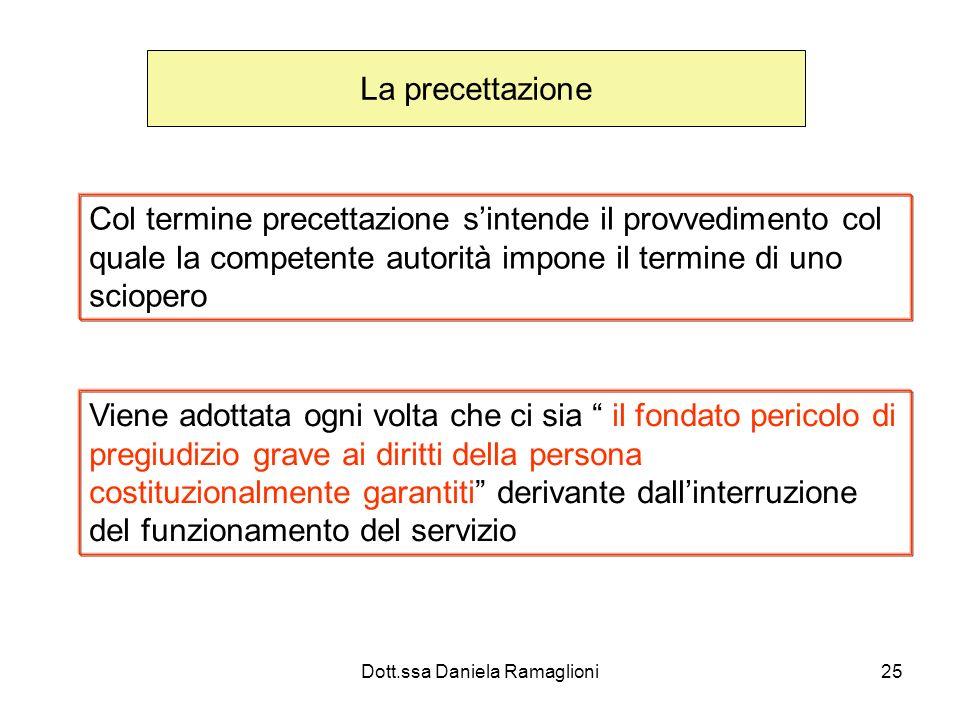 Dott.ssa Daniela Ramaglioni25 La precettazione Col termine precettazione sintende il provvedimento col quale la competente autorità impone il termine