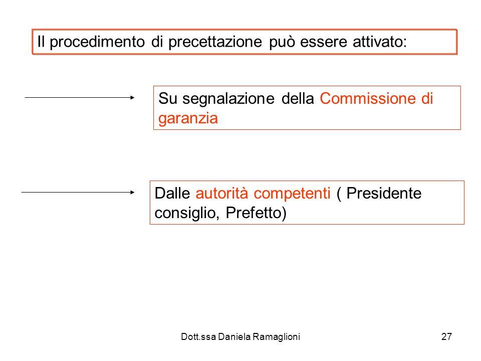 Dott.ssa Daniela Ramaglioni27 Il procedimento di precettazione può essere attivato: Su segnalazione della Commissione di garanzia Dalle autorità compe