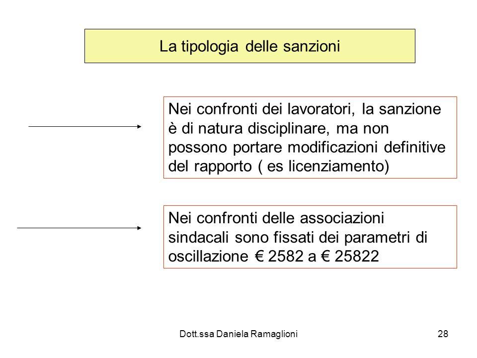 Dott.ssa Daniela Ramaglioni28 La tipologia delle sanzioni Nei confronti dei lavoratori, la sanzione è di natura disciplinare, ma non possono portare m