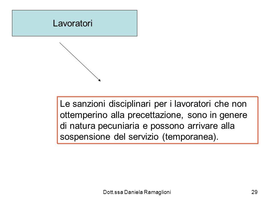 Dott.ssa Daniela Ramaglioni29 Lavoratori Le sanzioni disciplinari per i lavoratori che non ottemperino alla precettazione, sono in genere di natura pe