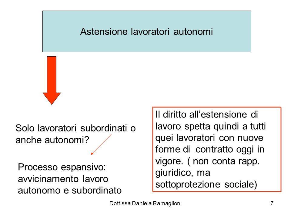 Dott.ssa Daniela Ramaglioni7 Astensione lavoratori autonomi Solo lavoratori subordinati o anche autonomi? Processo espansivo: avvicinamento lavoro aut
