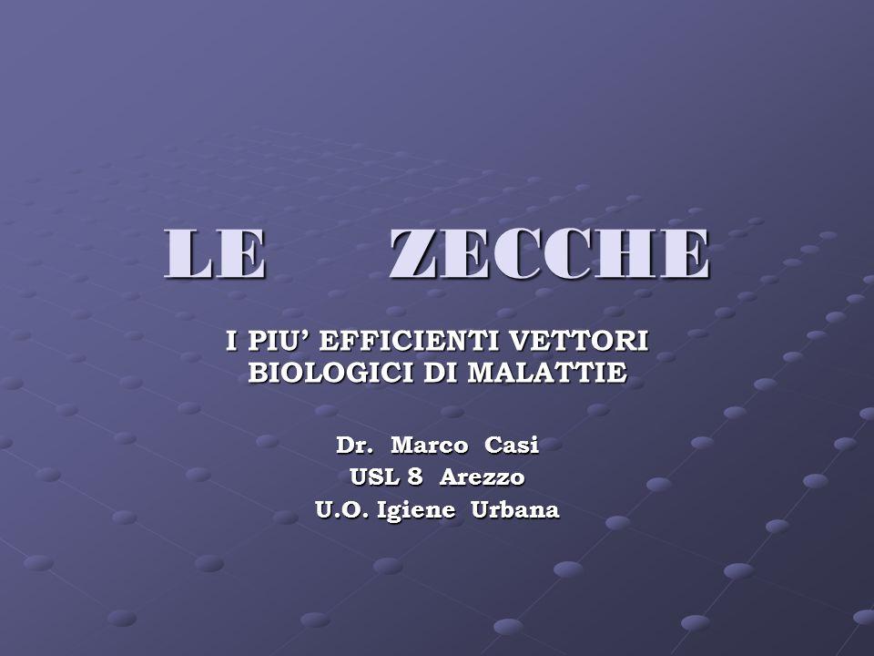 LE ZECCHE I PIU EFFICIENTI VETTORI BIOLOGICI DI MALATTIE Dr. Marco Casi USL 8 Arezzo U.O. Igiene Urbana