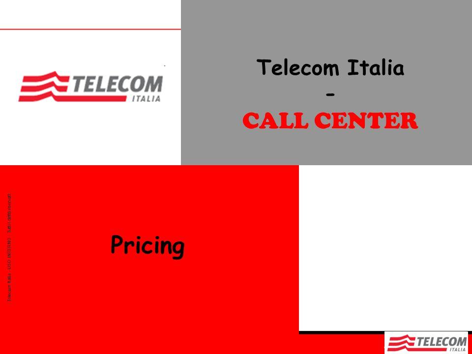Telecom Italia - CALL CENTER Telecom Italia - USO INTERNO - Tutti i diritti riservati. Pricing
