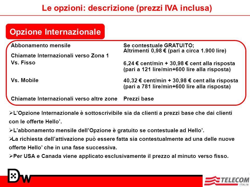 Abbonamento mensile Chiamate Internazionali verso Zona 1 Se contestuale GRATUITO; Altrimenti 0,98 (pari a circa 1.900 lire) 6,24 cent/min + 30,98 cent