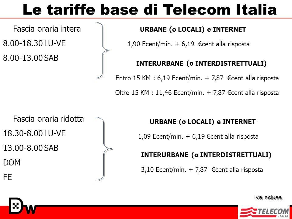 Le tariffe base di Telecom Italia Fascia oraria intera 8.00-18.30 LU-VE 8.00-13.00 SAB Fascia oraria ridotta 18.30-8.00 LU-VE 13.00-8.00 SAB DOM FE UR