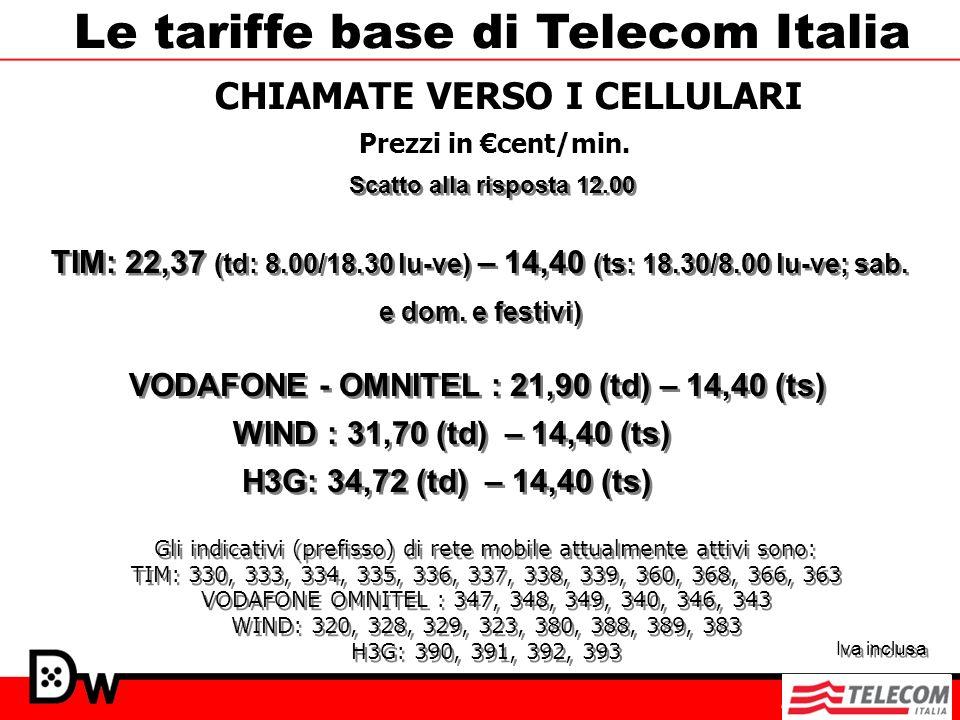 CHIAMATE VERSO I CELLULARI Prezzi in cent/min. Le tariffe base di Telecom Italia VODAFONE - OMNITEL : 21,90 (td) – 14,40 (ts) TIM: 22,37 (td: 8.00/18.