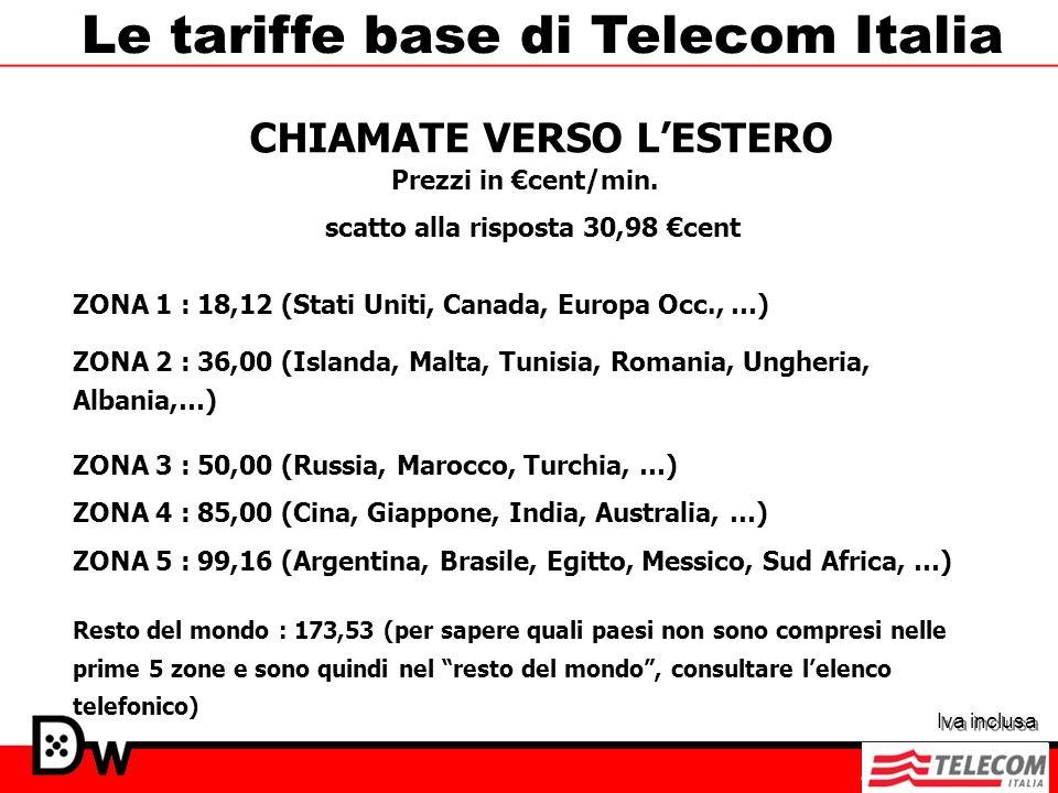 ZONA 2 : 36,00 (Islanda, Malta, Tunisia, Romania, Ungheria, Albania,…) Le tariffe base di Telecom Italia scatto alla risposta 30,98 cent ZONA 3 : 50,0
