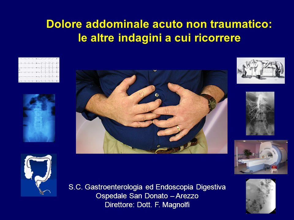 Dolore addominale acuto non traumatico: le altre indagini a cui ricorrere S.C. Gastroenterologia ed Endoscopia Digestiva Ospedale San Donato – Arezzo