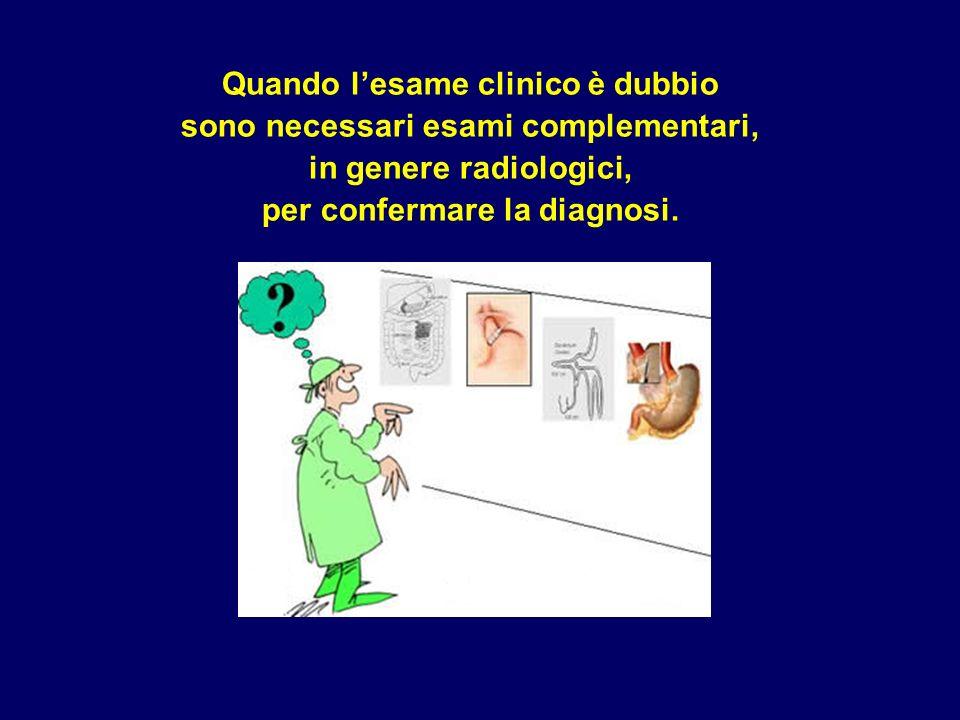 Quando lesame clinico è dubbio sono necessari esami complementari, in genere radiologici, per confermare la diagnosi.