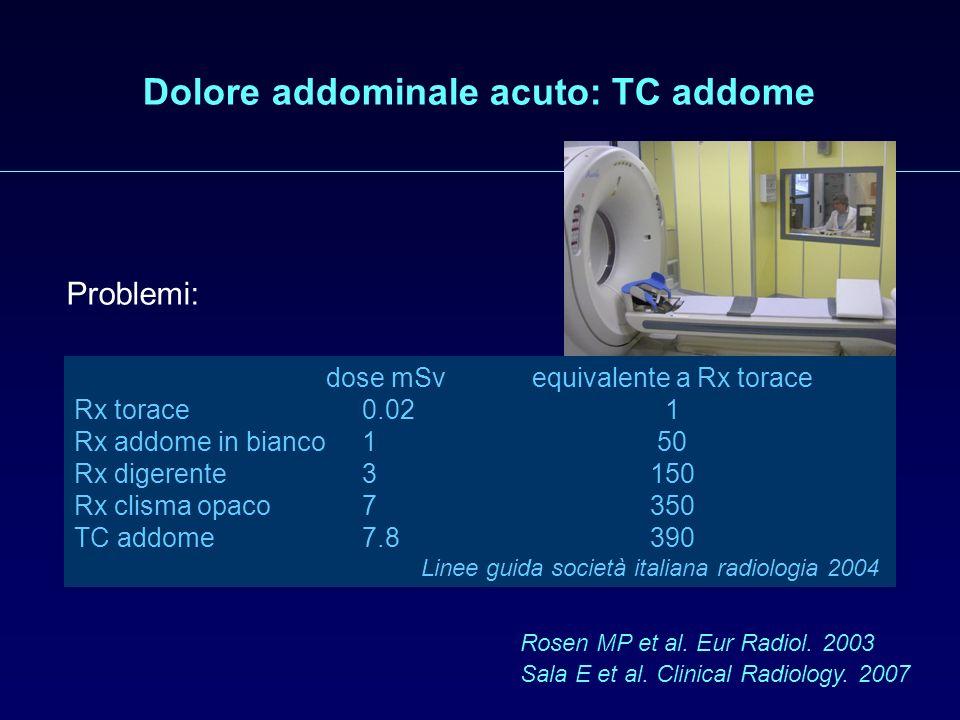 Dolore addominale acuto: TC addome Problemi: tempi di esecuzione disagio per il paziente costi ridotta ospedalizzazione (20% di ricoveri evitati) espo