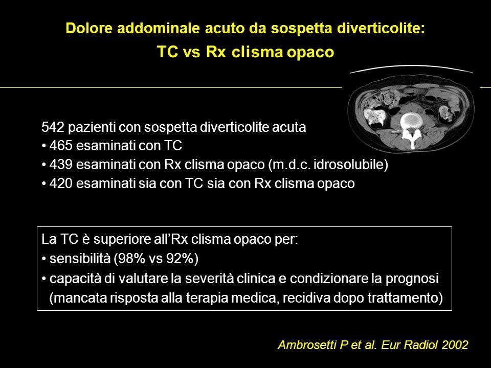 542 pazienti con sospetta diverticolite acuta 465 esaminati con TC 439 esaminati con Rx clisma opaco (m.d.c. idrosolubile) 420 esaminati sia con TC si