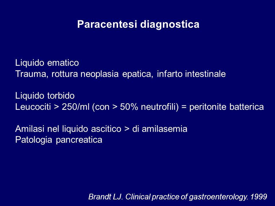 Paracentesi diagnostica Liquido ematico Trauma, rottura neoplasia epatica, infarto intestinale Liquido torbido Leucociti > 250/ml (con > 50% neutrofil