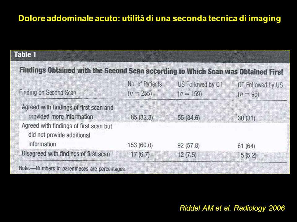 Dolore addominale acuto: utilità di una seconda tecnica di imaging Riddel AM et al. Radiology 2006