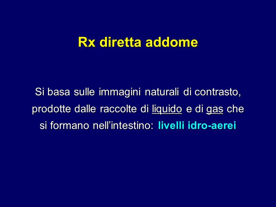 Rx diretta addome Si basa sulle immagini naturali di contrasto, prodotte dalle raccolte di liquido e di gas che si formano nellintestino: livelli idro