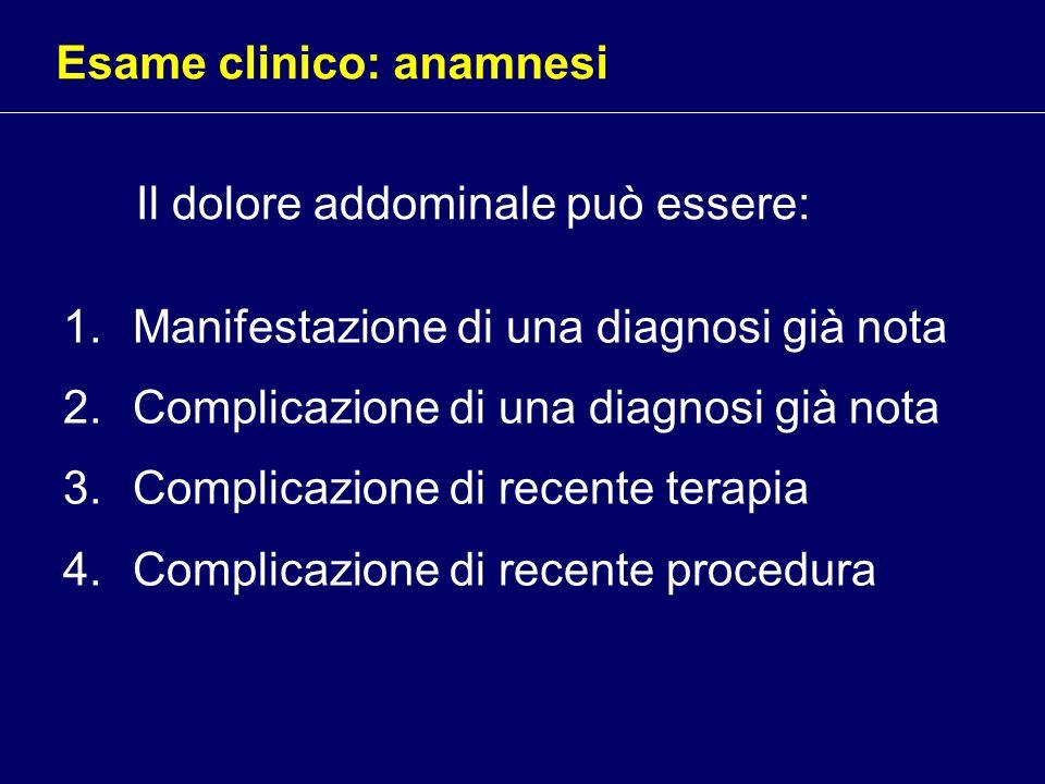 Il dolore addominale può essere: 1.Manifestazione di una diagnosi già nota 2.Complicazione di una diagnosi già nota 3.Complicazione di recente terapia