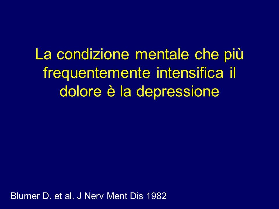 La condizione mentale che più frequentemente intensifica il dolore è la depressione Blumer D. et al. J Nerv Ment Dis 1982