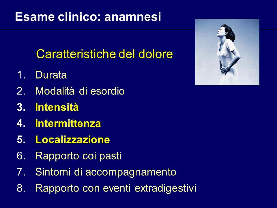 Caratteristiche del dolore 1.Durata 2.Modalità di esordio 3.Intensità 4.Intermittenza 5.Localizzazione 6.Rapporto coi pasti 7.Sintomi di accompagnamen