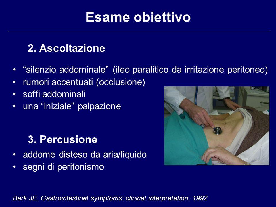 Esame obiettivo silenzio addominale (ileo paralitico da irritazione peritoneo) rumori accentuati (occlusione) soffi addominali una iniziale palpazione