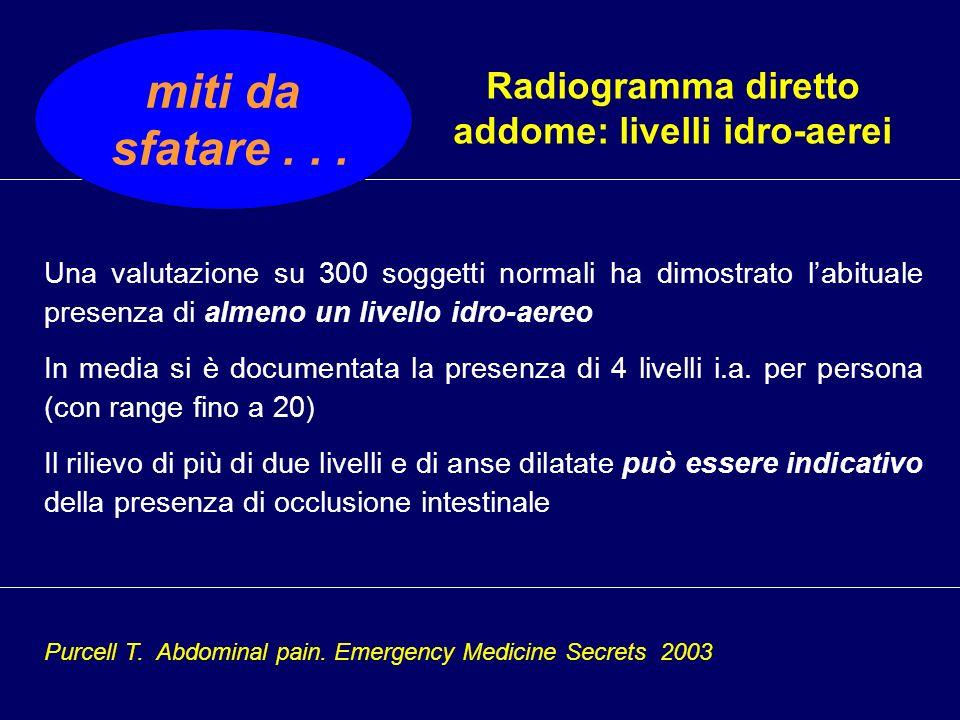 Radiogramma diretto addome: livelli idro-aerei miti da sfatare... Una valutazione su 300 soggetti normali ha dimostrato labituale presenza di almeno u