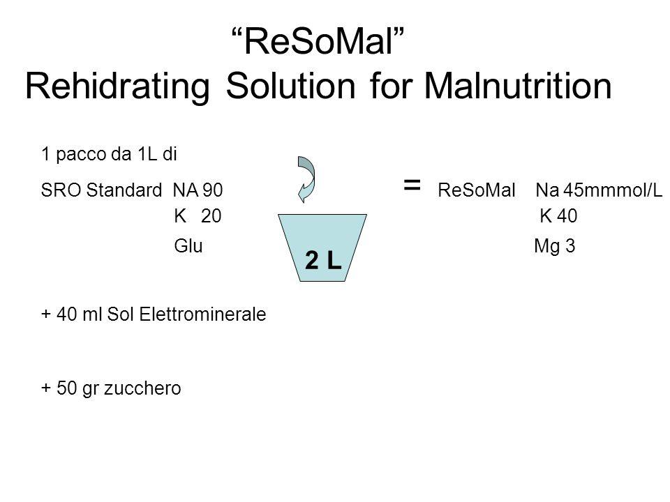 ReSoMal Rehidrating Solution for Malnutrition 1 pacco da 1L di SRO Standard NA 90 = ReSoMal Na 45mmmol/L K 20 K 40 Glu Mg 3 + 40 ml Sol Elettromineral
