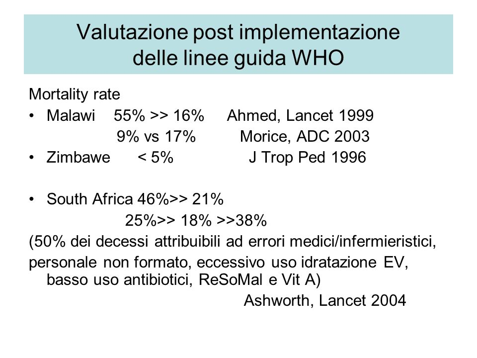 Valutazione post implementazione delle linee guida WHO Mortality rate Malawi 55% >> 16% Ahmed, Lancet 1999 9% vs 17% Morice, ADC 2003 Zimbawe < 5% J T