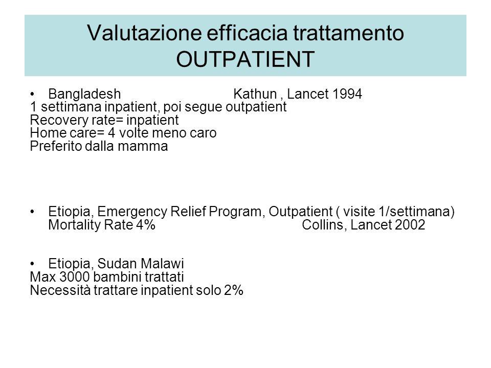 Valutazione efficacia trattamento OUTPATIENT Bangladesh Kathun, Lancet 1994 1 settimana inpatient, poi segue outpatient Recovery rate= inpatient Home