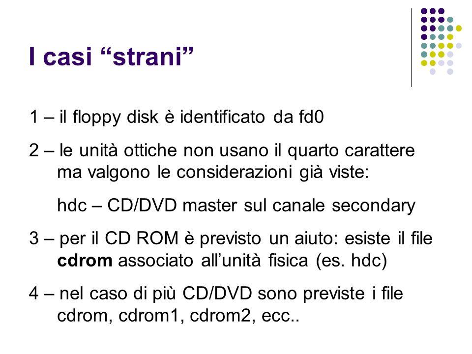 I casi strani 1 – il floppy disk è identificato da fd0 2 – le unità ottiche non usano il quarto carattere ma valgono le considerazioni già viste: hdc